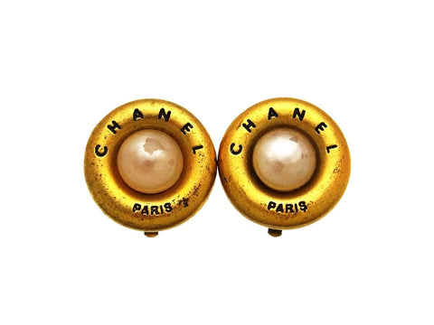 Vintage Chanel earrings logo pearl round