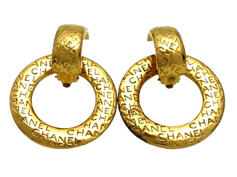 Vintage Chanel earrings logo hoop dangle
