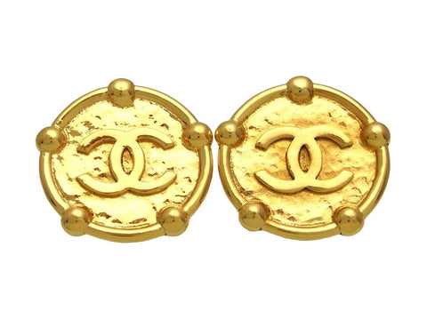 Vintage Chanel earrings CC logo round large