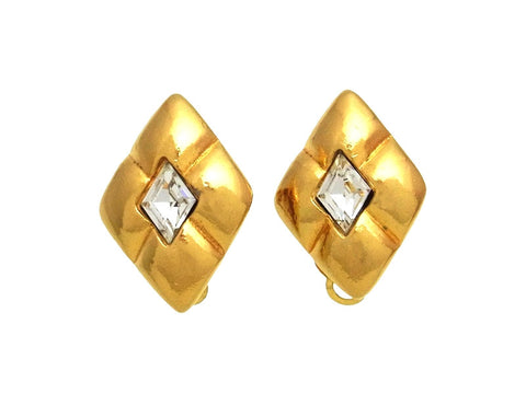 Vintage Chanel earrings CC logo rhombus rhinestone