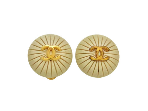 Vintage Chanel earrings CC logo round white
