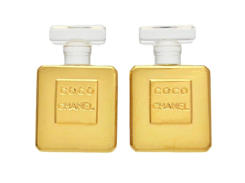 Vintage Chanel earrings logo perfume bottle