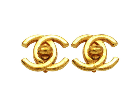 Vintage Chanel earrings turnlock CC logo