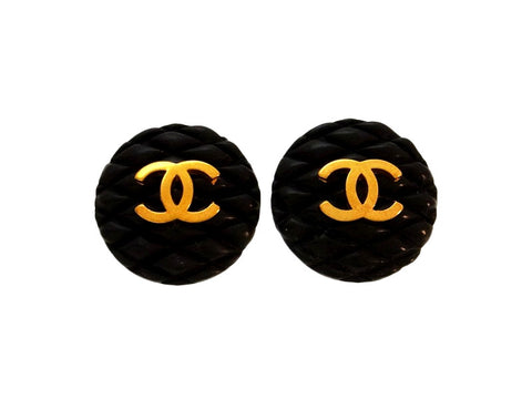 Vintage Chanel earrings CC logo black quilted round