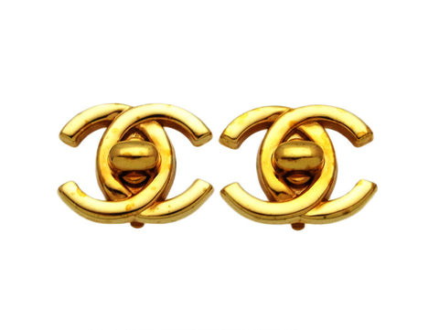 Vintage Chanel earrings CC logo turnlock double C