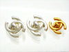 Vintage Chanel earrings CC logo turnlock silver color