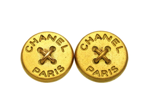 Vintage Chanel earrings logo button round