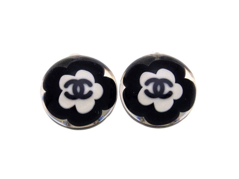 Vintage Chanel earrings CC logo flower clear round