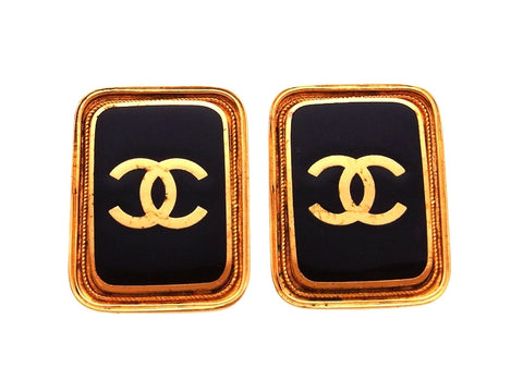 Vintage Chanel earrings CC logo black quad