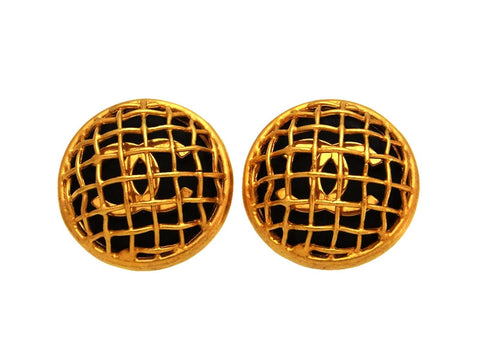 Vintage Chanel earrings CC logo net black round