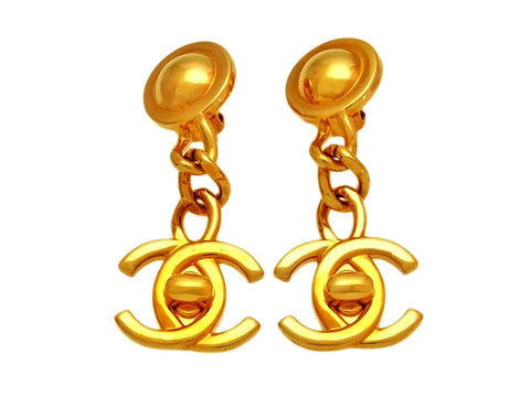 Vintage Chanel earrings CC logo turnlock dangle