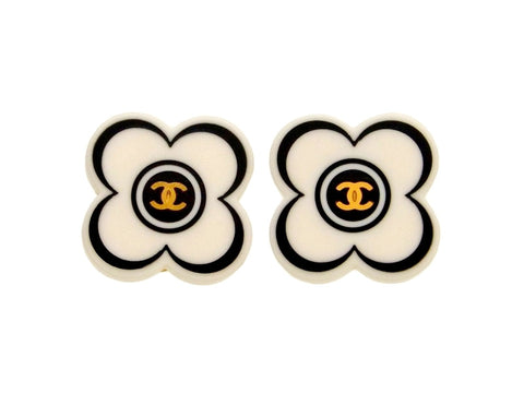 Vintage Chanel earrings CC logo white flower
