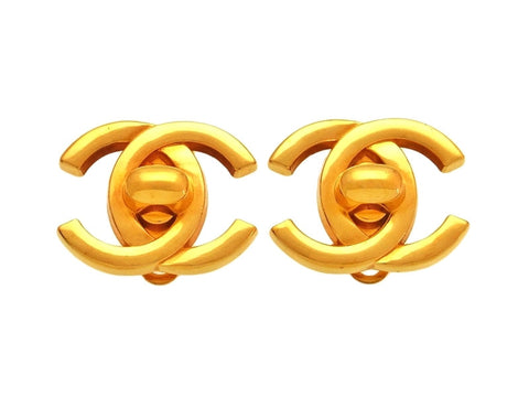 Vintage Chanel earrings large CC logo turnlock