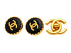 Vintage Chanel earrings CC logo black button round