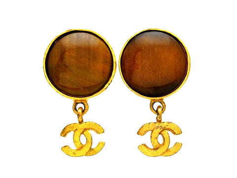 Vintage Chanel earrings brown stone CC logo dangle