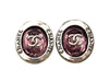 Vintage Chanel earrings CC logo round purple stone