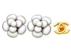 Vintage Chanel earrings white glass stone camellia flower
