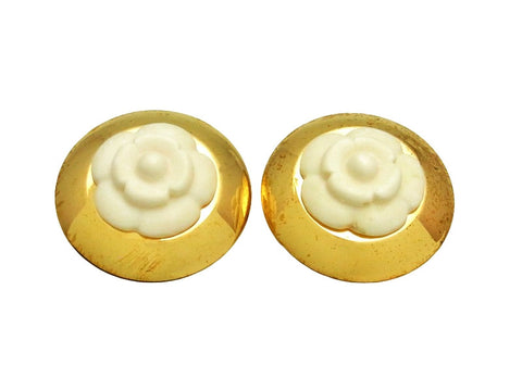 Vintage Chanel earrings white camellia round