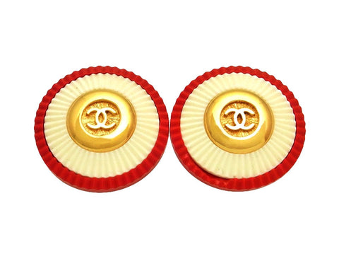 Vintage Chanel earrings CC logo red white round