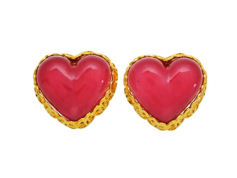Vintage Chanel earrings CC logo framed pink heart