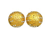Vintage Chanel earrings logo rhinestone round