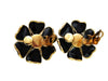 Vintage Chanel earrings black flower gripoix glass