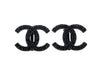 Vintage Chanel earrings CC logo black rhinestone