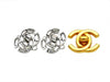 Vintage Chanel earrings CC logo rhinestone silver color