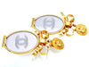 Vintage Chanel earrings CC logo mirror dangle