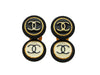 Vintage Chanel earrings CC logo round double black white