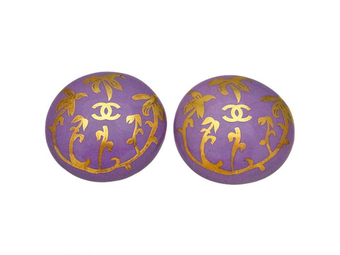 Vintage Chanel earrings CC logo round purple pottery