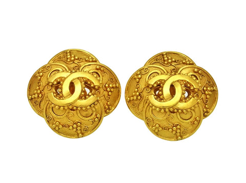 Vintage Chanel earrings CC logo flower large
