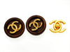 Vintage Chanel earrings CC logo wood round