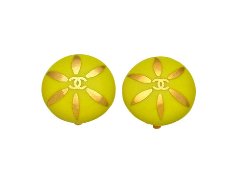 Vintage Chanel earrings CC logo round yellow pottery