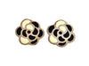 Vintage Chanel earrings black white camellia