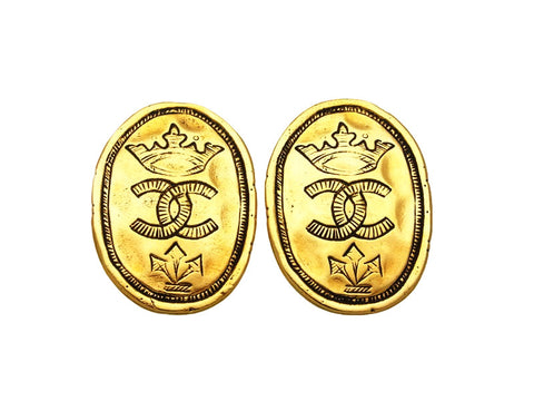 Vintage Chanel earrings CC logo crown round