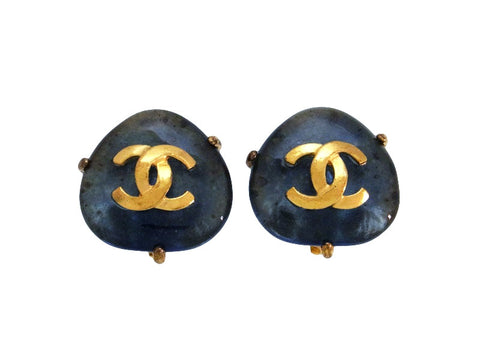 Vintage Chanel earrings CC logo blue stone