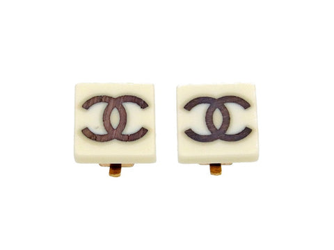 Vintage Chanel earrings wood CC logo square white