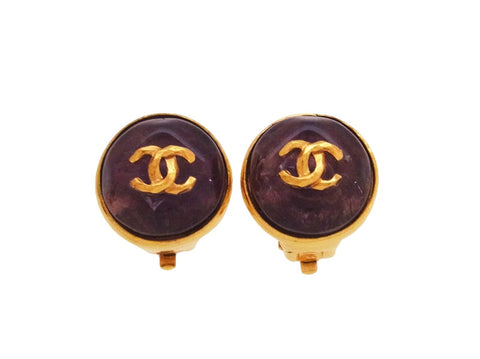Vintage Chanel earrings CC logo purple stone round