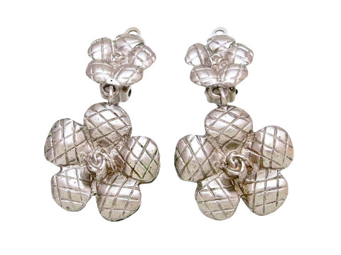 Vintage Chanel earrings camellia flower dangle