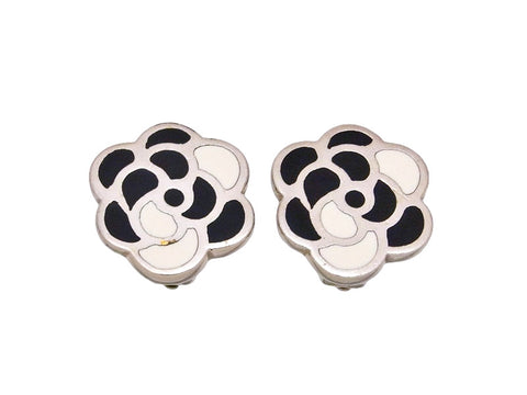 Vintage Chanel earrings camellia flower silver color