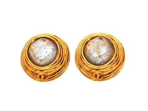 Vintage Chanel earrings CC logo round white stone