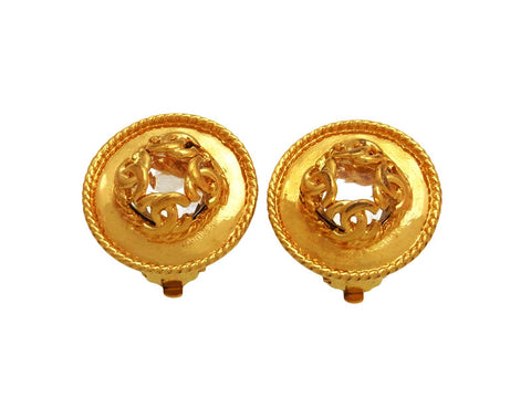 Vintage Chanel earrings CC logo round mirror
