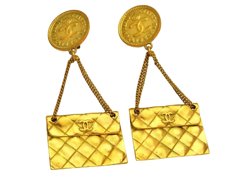 de46a296c39145 Vintage Chanel earrings CC logo 2.55 flap bag dangle | Vintage Five