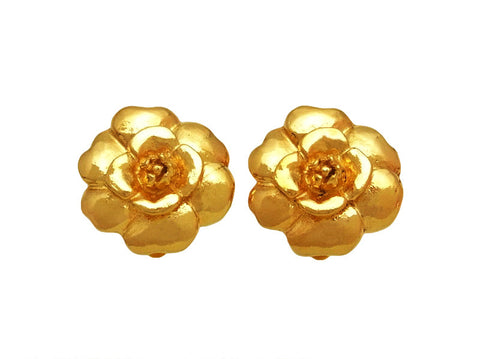 Vintage Chanel earrings camellia flower gold tone