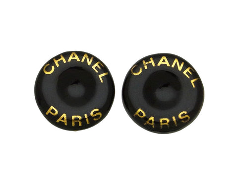 Vintage Chanel earrings CC logo round black pottery
