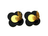 Vintage Chanel earrings CC logo black flower