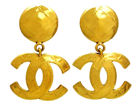 Vintage Chanel earrings CC logo dangle large