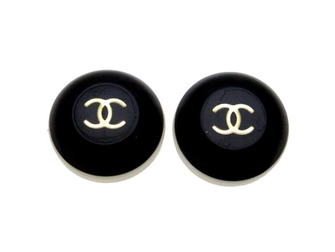 Vintage Chanel earrings CC logo black white round