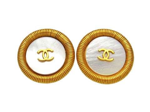 Vintage Chanel earrings CC logo white shell round